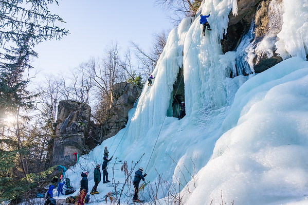 """Ice climb route nick named """"The Curtain""""."""