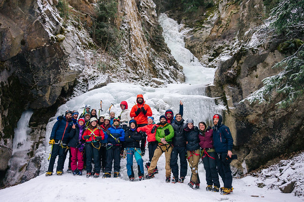 UAS Intro to Ice Climbing class of 2018 in fron of Reid Falls.