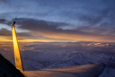 Dusk somewhere over the mountains of Afghanistan