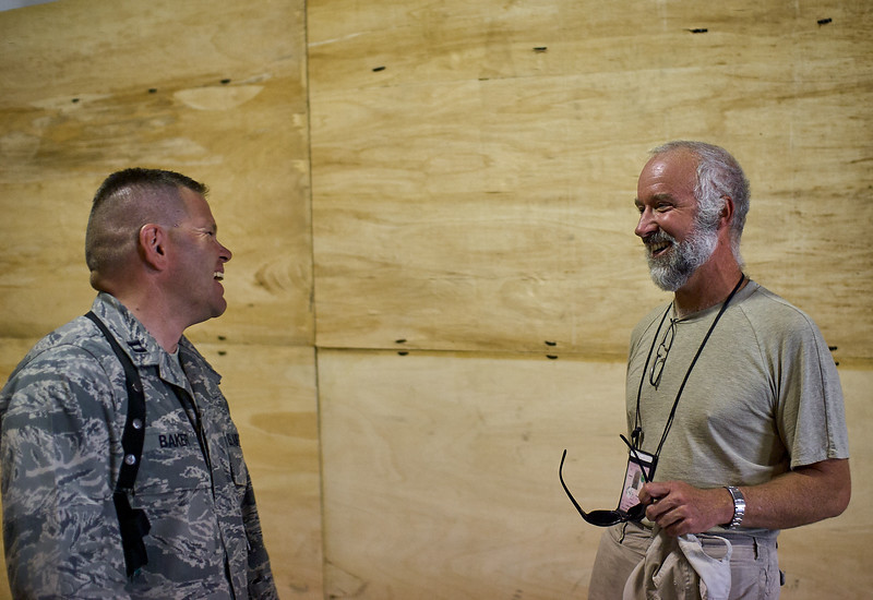 Photojournalist Keith Lepor visiting the squadron at Bagram