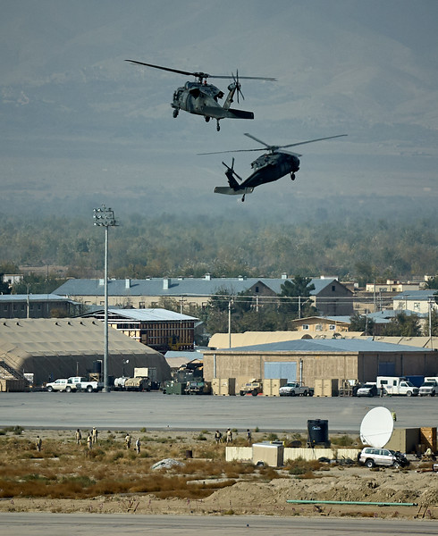 Medical evac Blackhawks making an expedient landing near the hospital