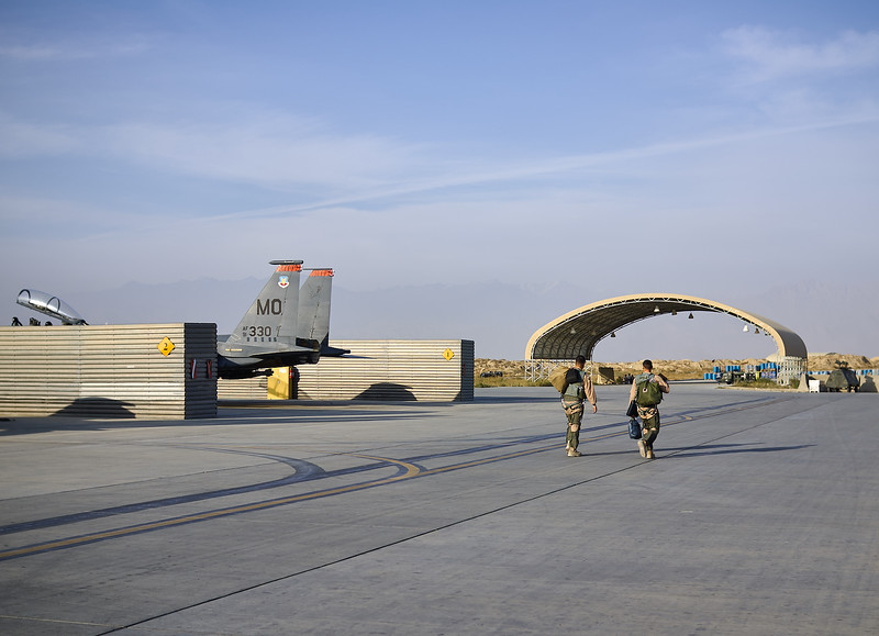 Walking back to the operations building after flying close air support