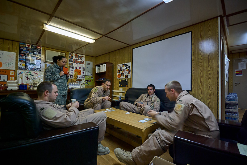 Alert crews passing the time with a card game