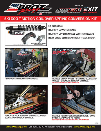 ARSFX Ski Doo T-Motion Coil Over Shock Conversion Kit_Install Instructions_PG1