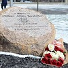 Kelsey Leyva — The Morning Journal <br> Roses are laid at the foot of the memorial stone commemorating Elyria police Sgt. James A. Kerstetter who was killed in the line of duty March 15, 2010.