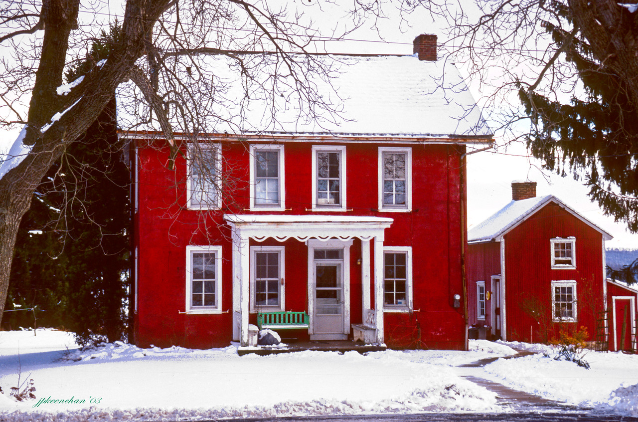 Red Farmhouse Near the Town of Oley in Berks County Pennsylvania