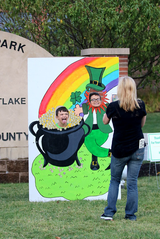 . Jonathan Tressler - The News-Herald. Some young visitors to the 2017 Ohio Celtic Festival pose for a snapshot behind one of the photo props on the west end of Classic Park in Eastlake Aug. 11.