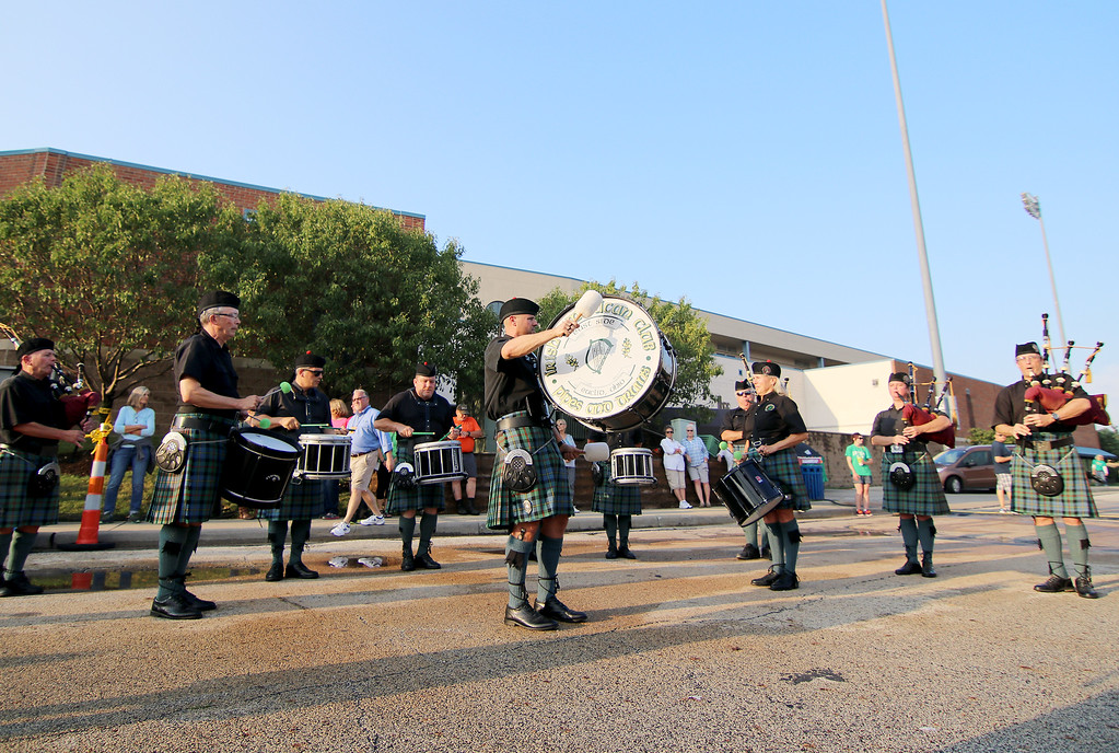 . Jonathan Tressler - The news-Herald. Members of The Irish American East Side Pipe Band entertain a crowd on the south side of Classic Park in Eastlake Aug. 11, the opening day of the 2017 Ohio Celtic Festival.