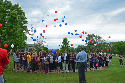 Leah McDonald - Oneida Daily Dispatch Family and friends of former custodian Ron Fargo, who died in 2016, release balloons with members of the Oneida High School Z Club during a ceremony honoring Fargo's memory on Tuesday, May 30, 2017.