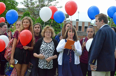 Leah McDonald - Oneida Daily Dispatch Family and friends of former custodian Ron Fargo, who died in 2016, stand with members of the Oneida High School Z Club during a ceremony honoring Fargo's memory on Tuesday, May 30, 2017.