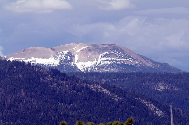 A close-up of Mammoth Mtn from atop of Catle Mtn
