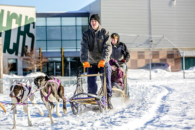 Information-- Students left to right: Todd Gustaitis, Sierra Wyman, Caleb Grover.  Event: Sophomore English teacher Allison Long has been teaching the novel Winter Dance by Gary Paulson.  Oxford Hills Technical School teacher Lynda Knowlton brough her sled dogs to school this morning to let the kids experience dog sledding.  The student in the front is one of Knowlton's student, the two in the back are Long's students.