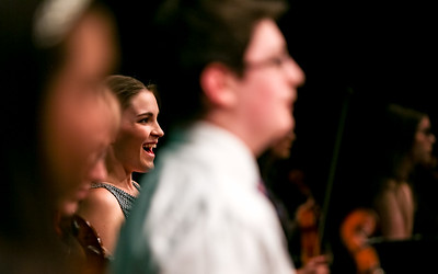 Senior Emily Cormier reacts to audience applause after the OHCHS orchestra performed at the senior recognition concert held at Oxford Hills Comprehensive High School's Mark Eastman Auditorium in South Paris