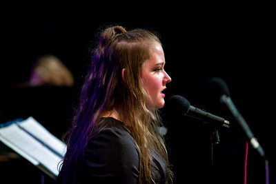 Senior Nikki Moore performs a solo during Oxford Hills Comprehensive High School's senior recognition concert last night at the Mark Eastman Auditorium in South Paris.