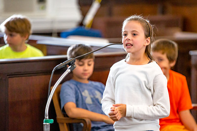 Law School: Guy E. Rowe 5th grader Abby Toohey takes part in closing statements for a mock trial held at the Oxford County Superior Courthouse in June.  The trial, a project in Catherine Bickford's class at the Guy E. Rowe School, sought to determine the superior candy between M&Ms and Skittles. The trial ended in a split decision by a two-judge panel.