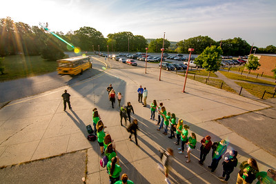 On Your Marks: Incoming 9th graders are grreeted by their upper-class mentors on the first day of school at Oxford Hills.