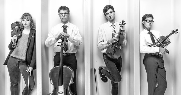 Foursome: The Oxford Hills string quartet rocks the group photo.