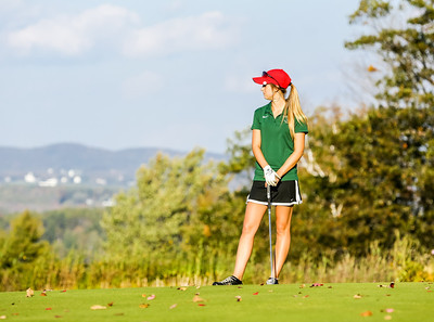 Brianna Morris waits her turn on the 5th green at Norway Country Club in the team's final regular season match.  The team finished the season with a perfect 12-0 record and played in the KVAC championships Tuesday, October 8th.