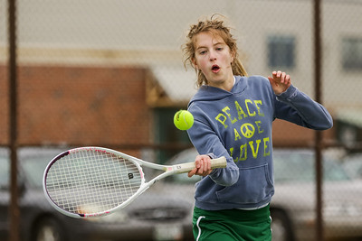 Oxford Hills Carly Sauro returns the ball in a match against Mt. Blue on Tuesday.
