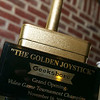 """The Golden Joystick of Triumph"" went to the winner of the night's video game tournament."