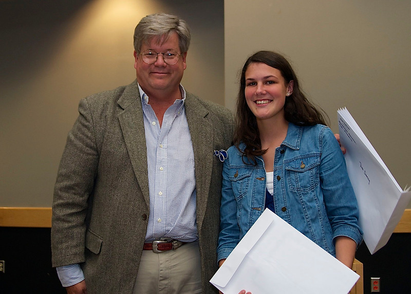 """O. Henry Magazine Editor Jim Dodson and Student Category 1st Place winner Katie Hall, whose story was entitled """"Music In The Streets""""."""