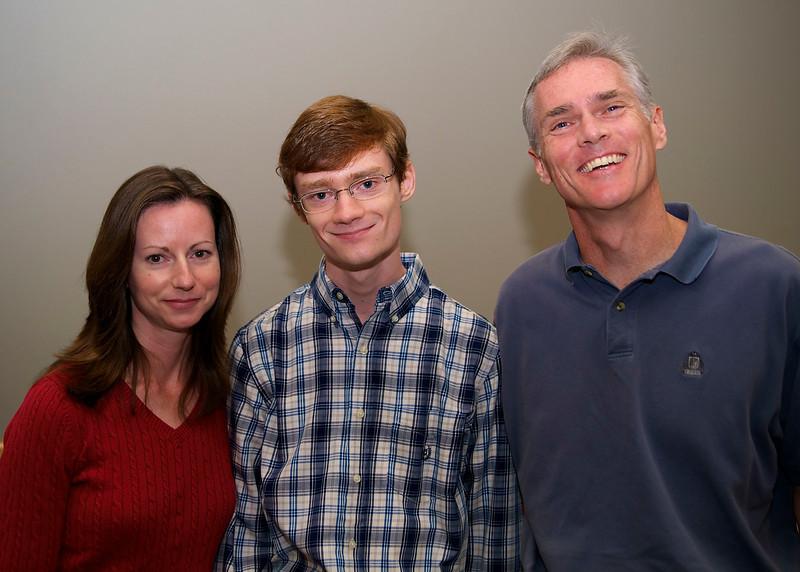 """Holly, Evan, & Will Petty. Evan won 3rd Place in the Student Category for his story """"Isabel Mackensie""""."""