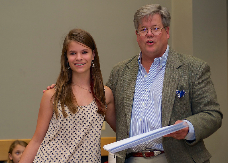 """O. Henry Magazine Editor Jim Dodson and Young Writer Category 1st Place winner Rachel Henley, whose story was entitled """"A Day of Difference"""""""