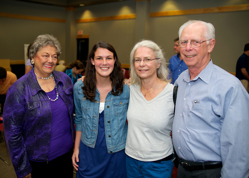 """Phyllis Hall, Katie Hall, Jackie Coates, Frank Hall. Katie won 1st Place in the Student Category for her story """"Music In The Streets."""". She was inspired by Ms. Coates, her English teacher at Page High School."""