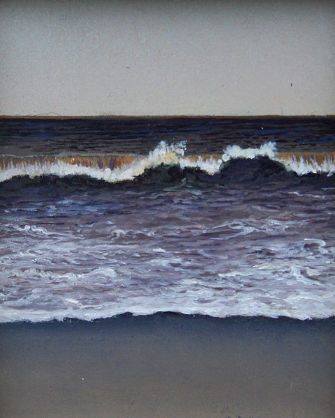 PURPLE GREY WAVE<br /> 2.5 X 3.5<br /> oil on board