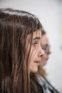 'Oorlog in mijn Buurt' 22 januari 2015, Leerlingen van de Asvo-school interviewen Joost van Santen over de oorlog. foto: Katrien Mulder