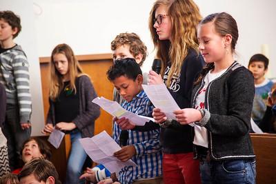 Presentatie Anne Frankschool van Oorlog in mijn Buurt 13 februari 2015, foto: Katrien Mulder
