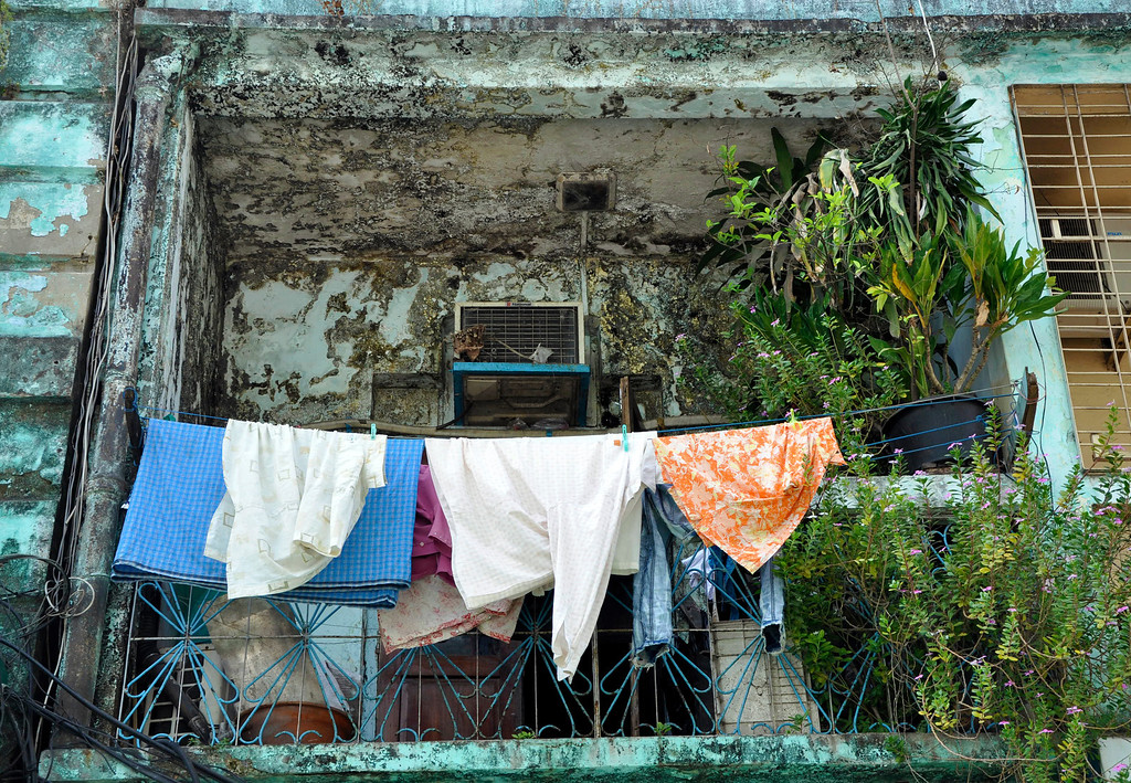 Balcony of local home in Yangon