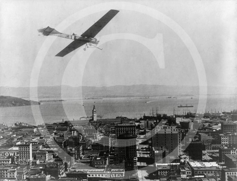 French aviator, Arthur Charles Hubert Latham flying over San Francisco 1911