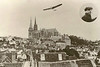 French aviator, Arthur Charles Hubert Latham flying over Chartres Cathedral, France  1909.