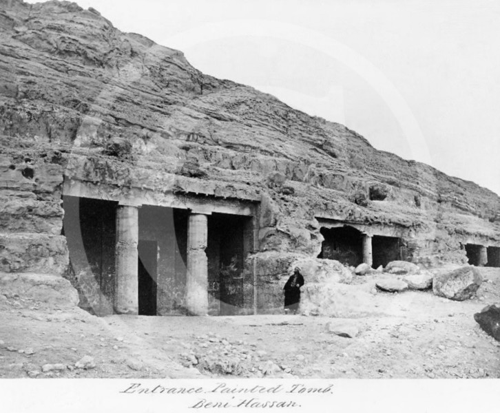 The entrance to the Painted Tombs, Beni Hasan, Egypt 1870