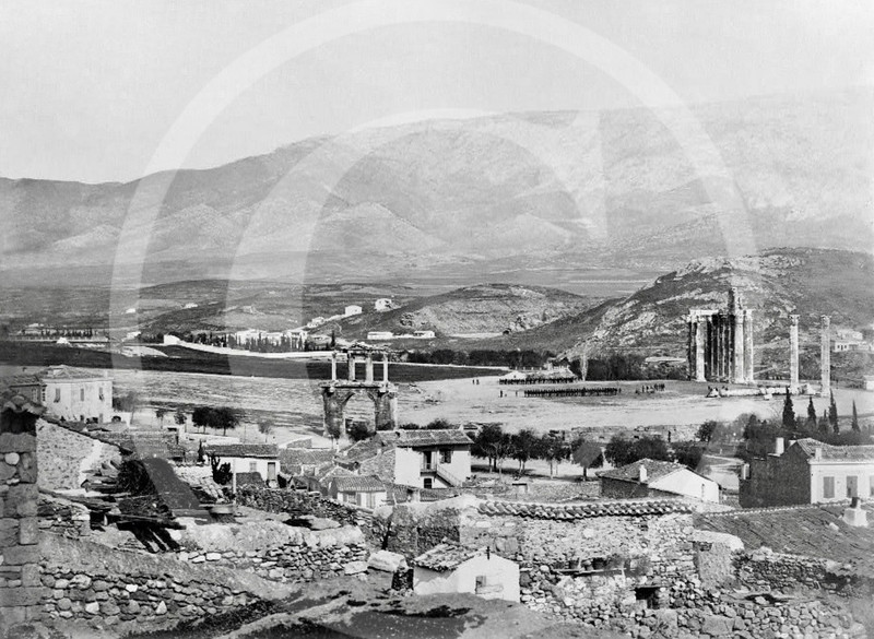 Arch of Hadrian and Temple of Olympian Zeus, Athens 1860.