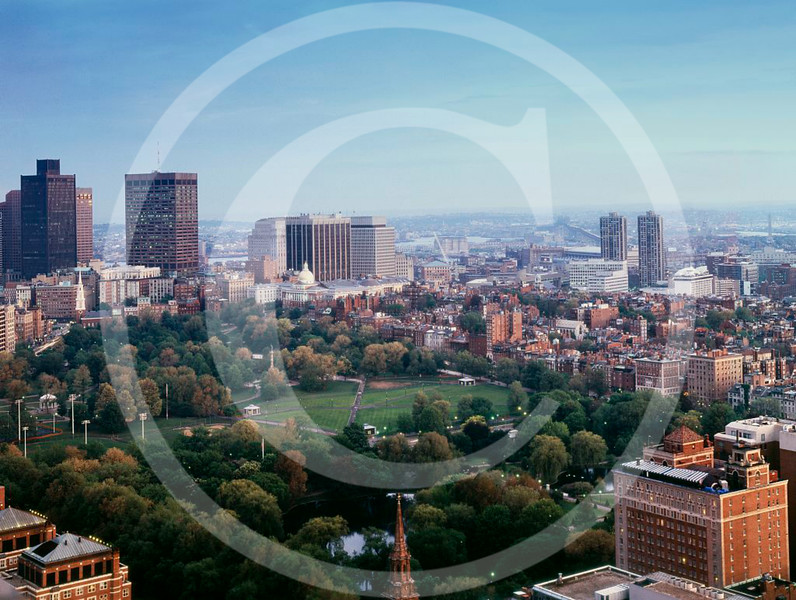 Aerial view of Boston Common, Boston, Massachusetts 1980.