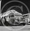 Greyhound bus being boarded by passengers in Indianapolis, Indiana September 1943