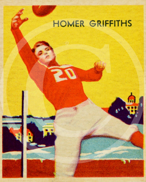 Homer Griffiths, Chicago Cardinals, National Chicle Football Card # 13, 1935.