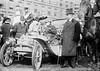 New York to Paris auto race. The French Sizaire-Naudin with Auguste Pons, captain and driver. Jeff. Seligman, banker is standing next to the car at the start of race, New York 12 February 1908.