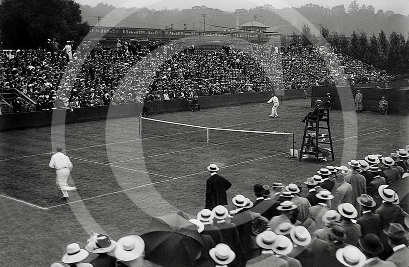 International Lawn Tennis Challenge match between American tennis player William Augustus Larned (1872-1926) and Charles Percy Dixon (1873-1939) from Great Britain. 9 September  1911
