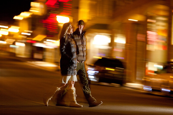 Couple on a date and enjoying resort town night life.