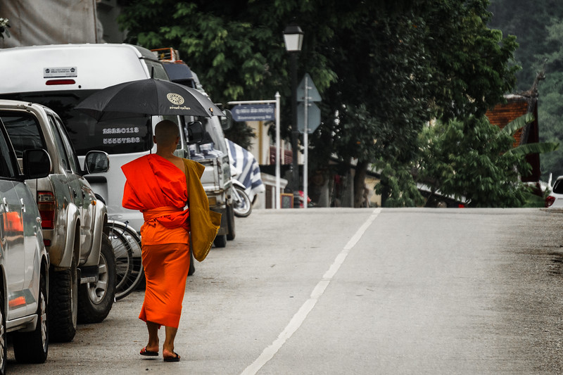 Luang Prabang Town - Monk Walking