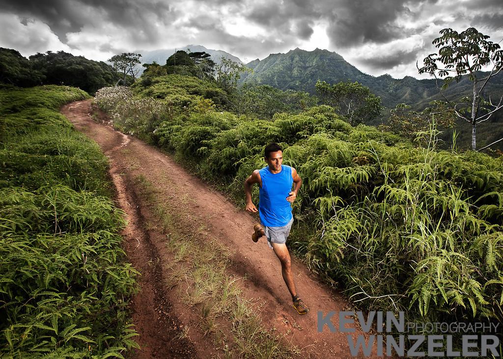 Athlete, Danial Velasco, runs the 11 mile power lines trail on the North Shore of Kauai, Hawaii, Wednesday, September 9, 2009.