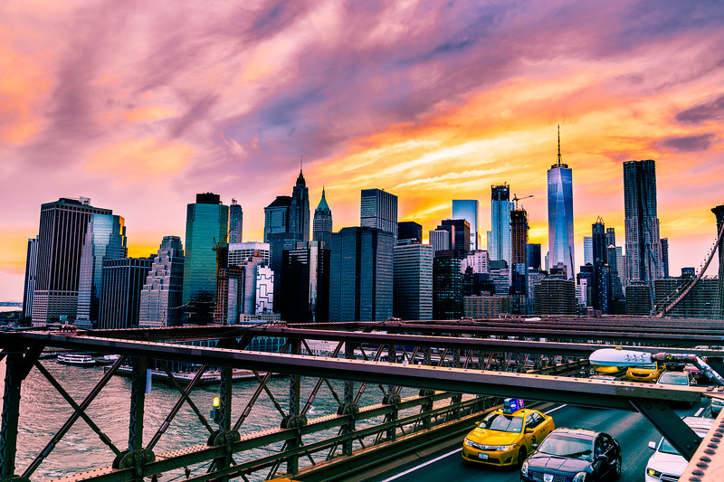 NYC Sunset Skyline from Brooklyn Bridge