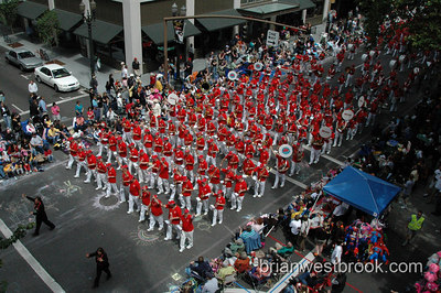 The One More Time Around Again Marching Band (OMTAAMB) in the 2006 Rose Festival Grand Floral Parade in Portland, Oregon.  (Photo (C) 2006 Brian M. Westbrook / brianwestbrook.com)
