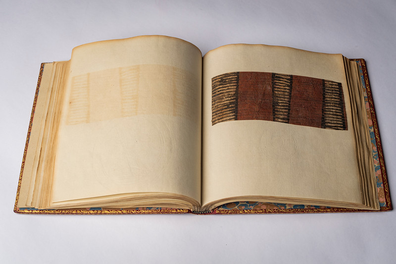 "Captain James Cook's ""swatch book"" containing pieces of cloth from colonialism in the South Seas, ca. 1787. More info: https://www.atlasobscura.com/articles/an-atlas-in-cloth-captain-cooks-rarely-seen-fabric-book"