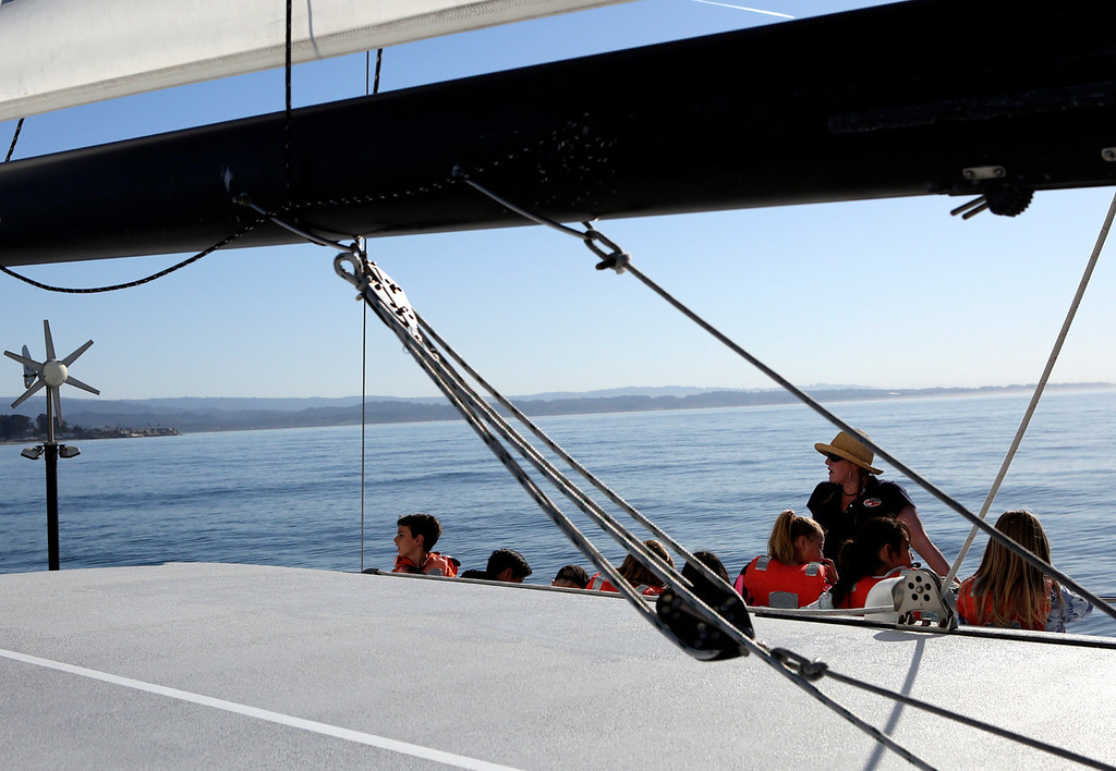 . Jennifer Johnston\'s Bay View Elementary School 4th graders spend the morning on the Monterey Bay learning about the ocean aboard the Team O\'Neill Catamaran with the O\'Neill Sea Odyssey program. (Shmuel Thaler -- Santa Cruz Sentinel)