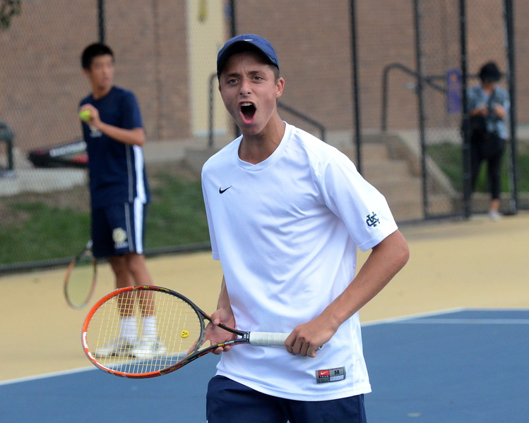 Bloomfield Hills Cranbrook-Kingswood junior Benji Jacobson celebrates after winning a point in his No. 1 singles final against Detroit Country Day's Michael Khaghany. Jacobson won the match in straight sets. (MIPrepZone photo by Jason Schmitt)