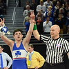 Detroit Catholic Central's Cameron Amine was one of five Shamrocks to claim a state title Saturday night. All five repeated their feats from a year ago. Amine beat Fraser's Danny Pfeffer, 9-3, in the 135-pound championship match. (MIPrepZone photo by Jason Schmitt)